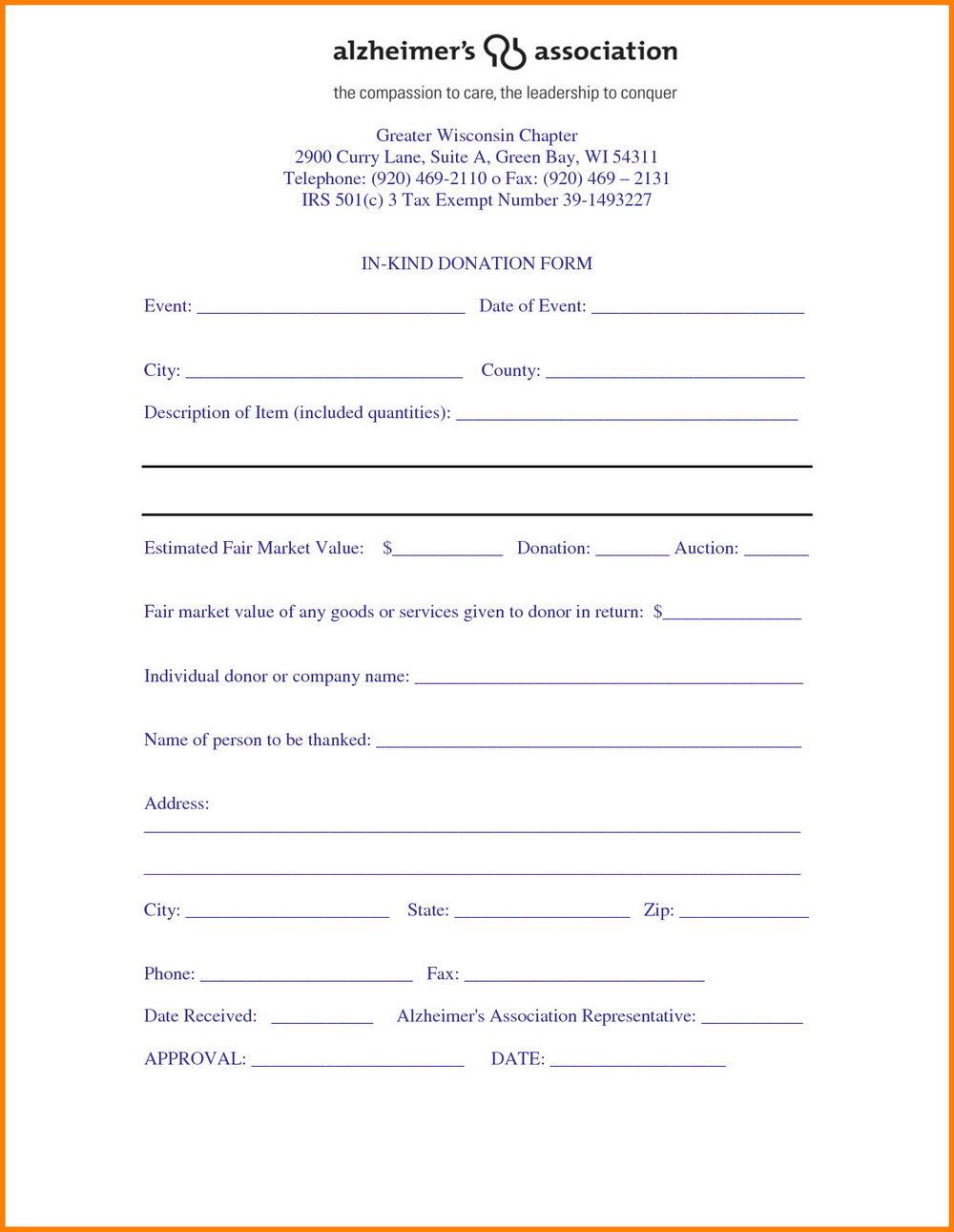 501 C 3 Donation Receipt Template