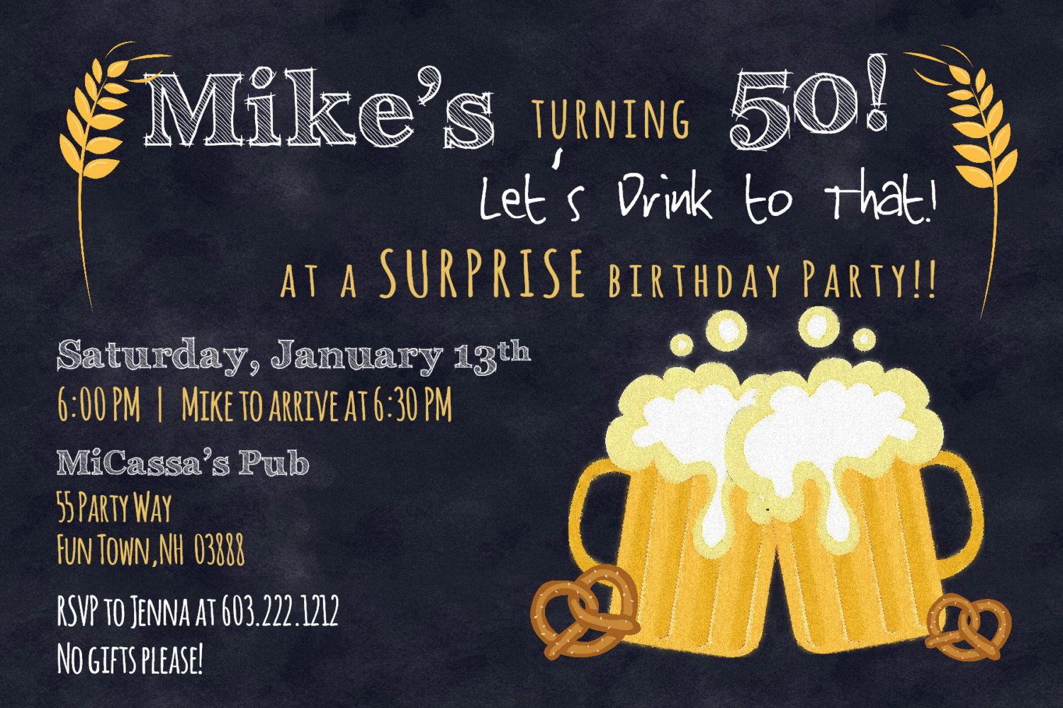 50th Birthday Party Invite Template