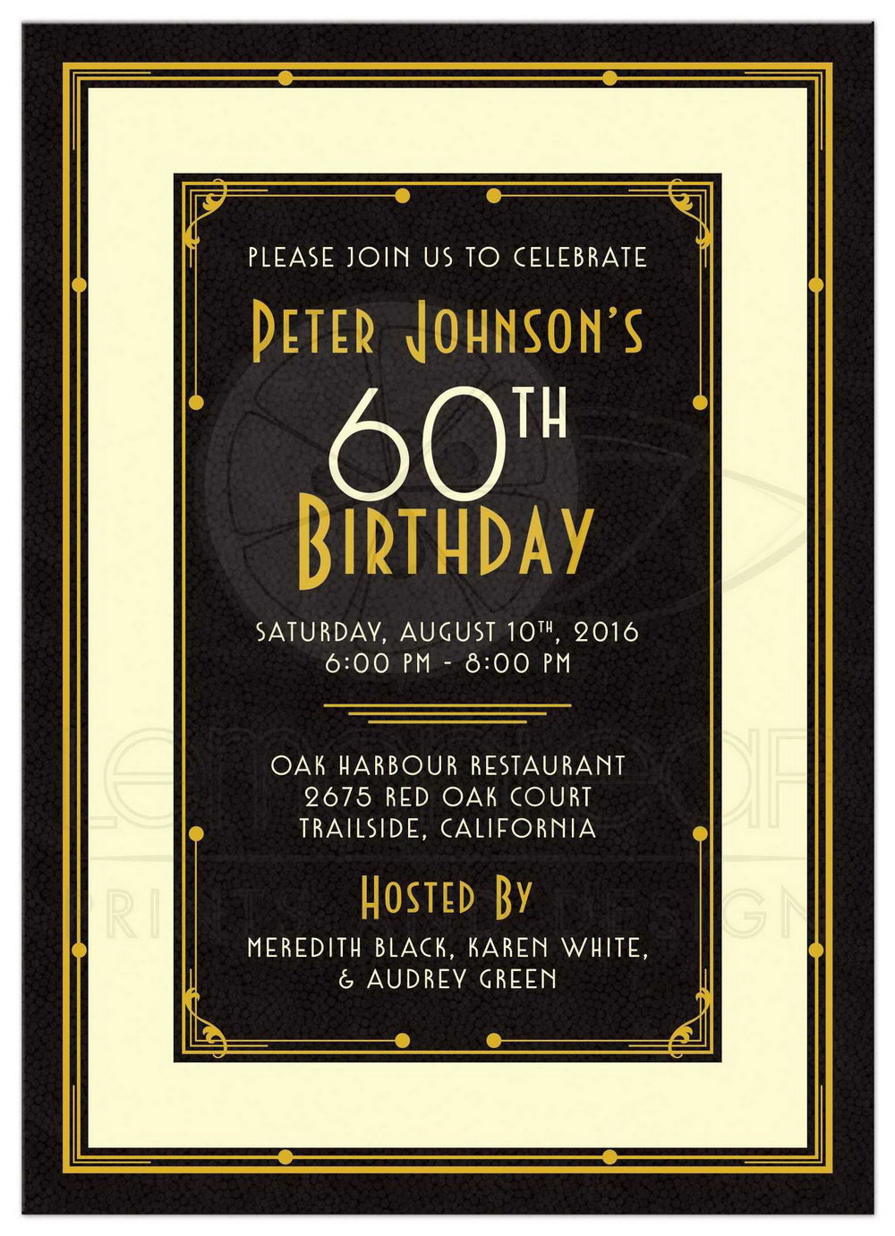 60th Birthday Party Invite Template