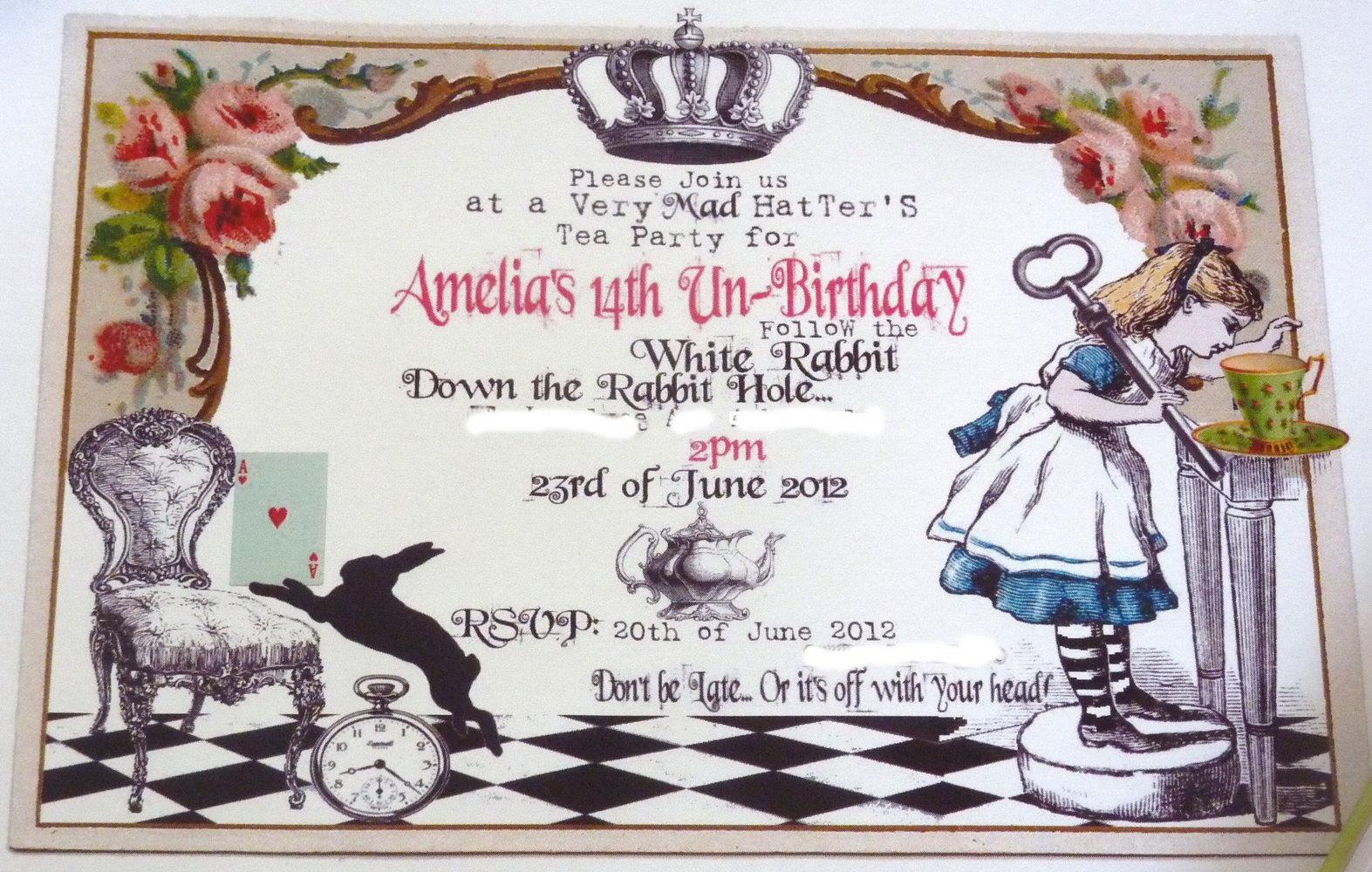 Alice In Wonderland Birthday Invitation Templates Free