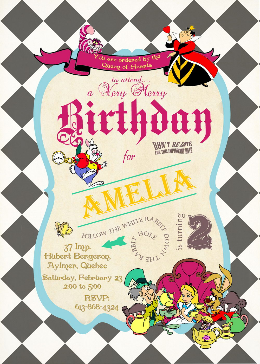 Alice In Wonderland Party Invitation Template Free