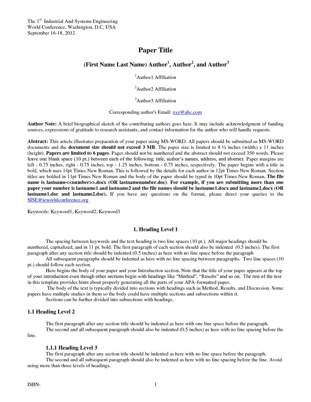 Apa Format Title Page 6th Edition Template