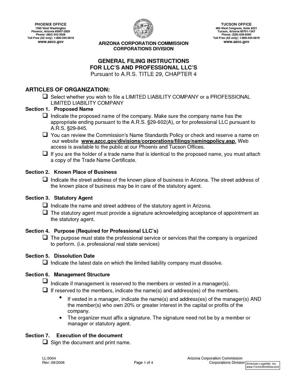 Articles Of Organization Llc Template