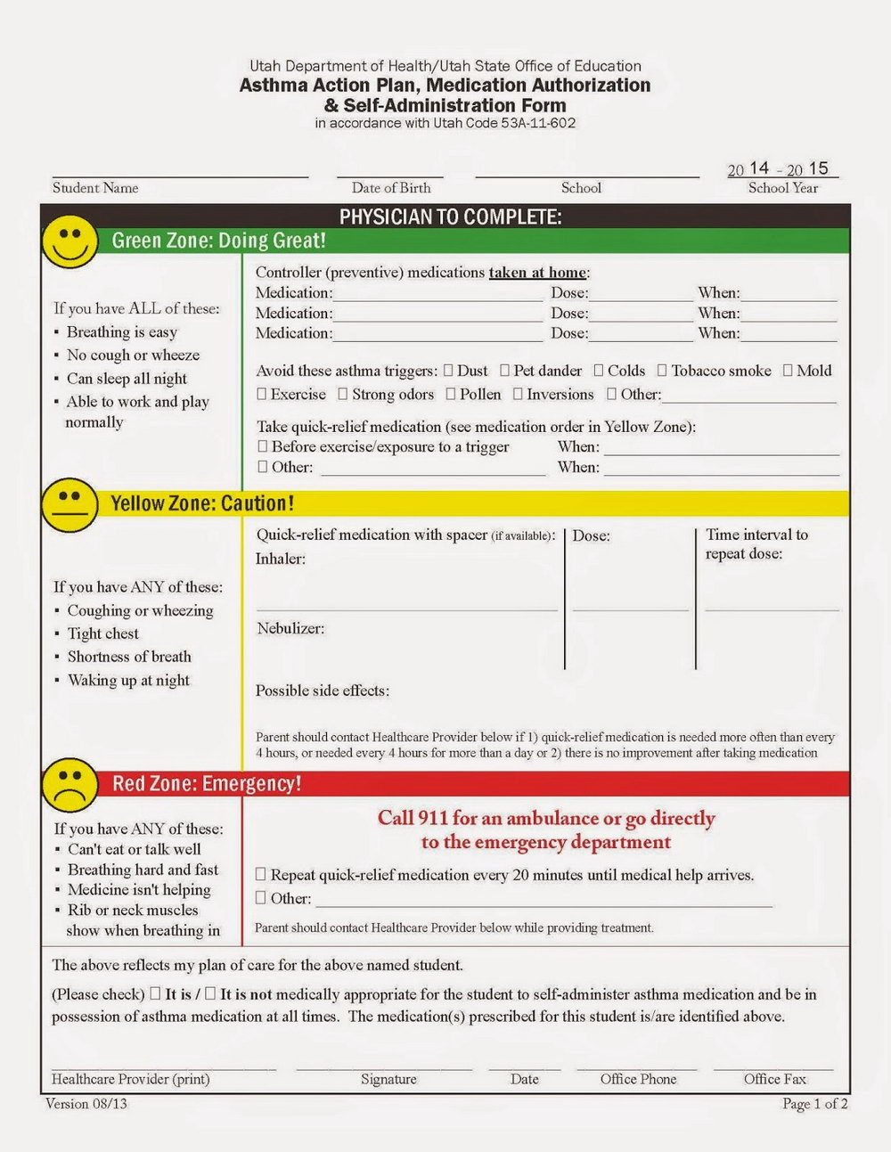 Asthma Action Plan Template Pdf