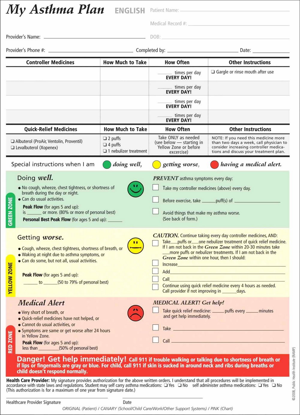 Asthma Action Plan Template Rch