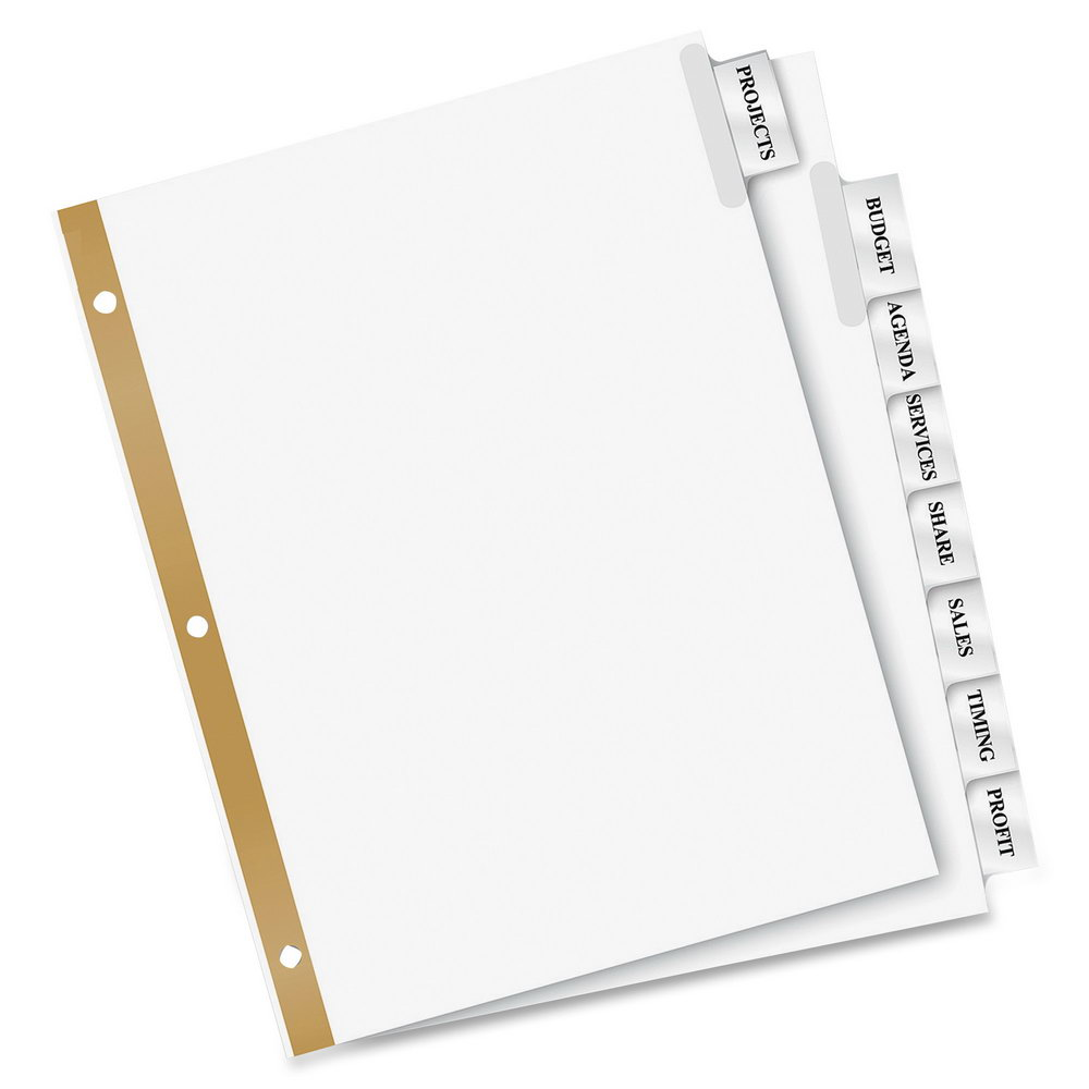 Avery Worksaver Tab Inserts Template