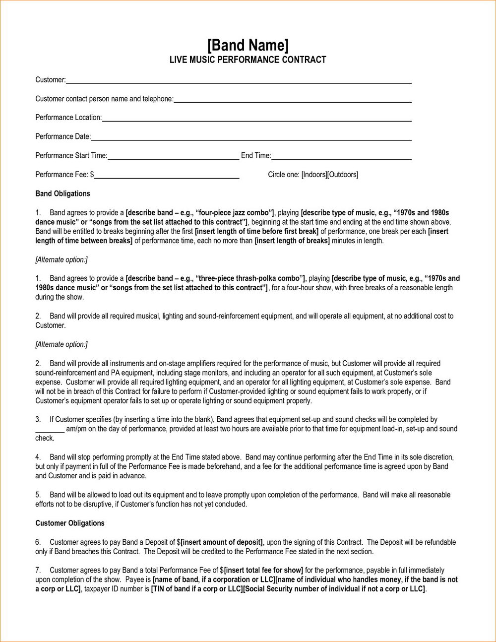 Band Contract Template Pdf Free