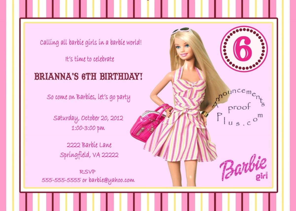 Barbie Invitations Templates Free