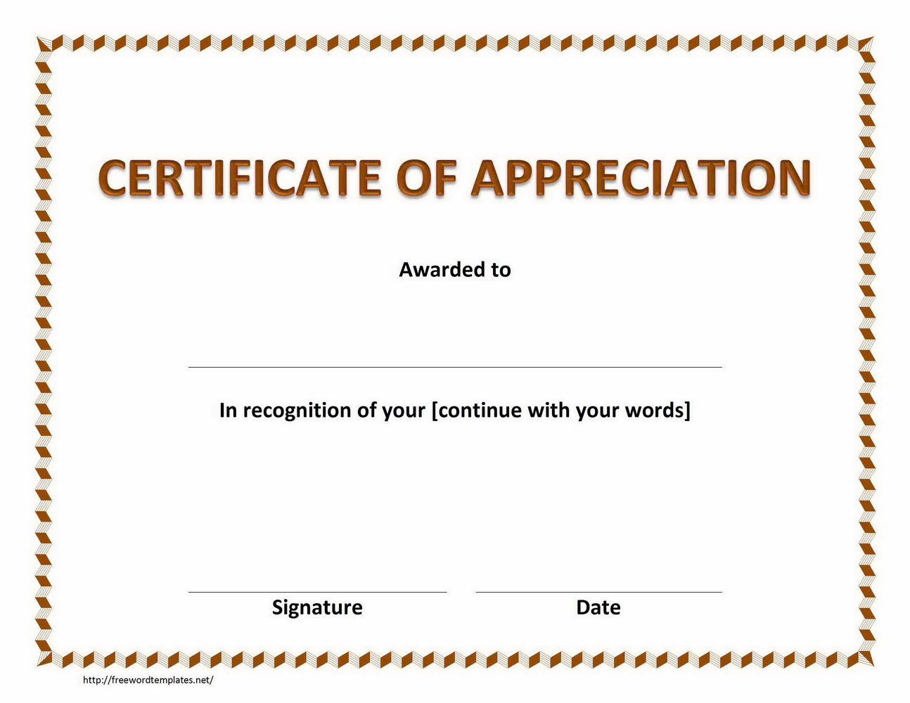 Blank Certificates Of Appreciation Templates Printable