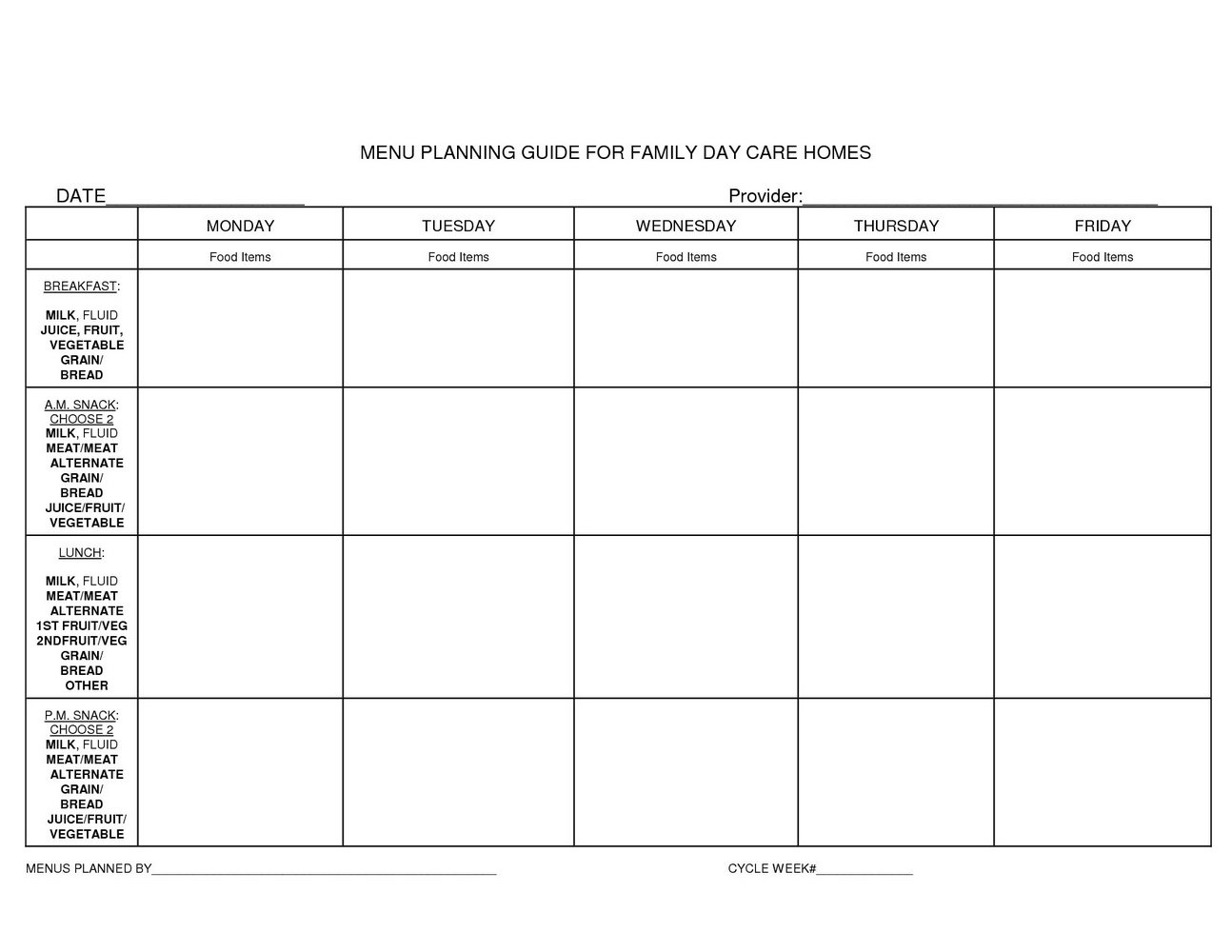 Free Printable Daycare Menus That Are Clever