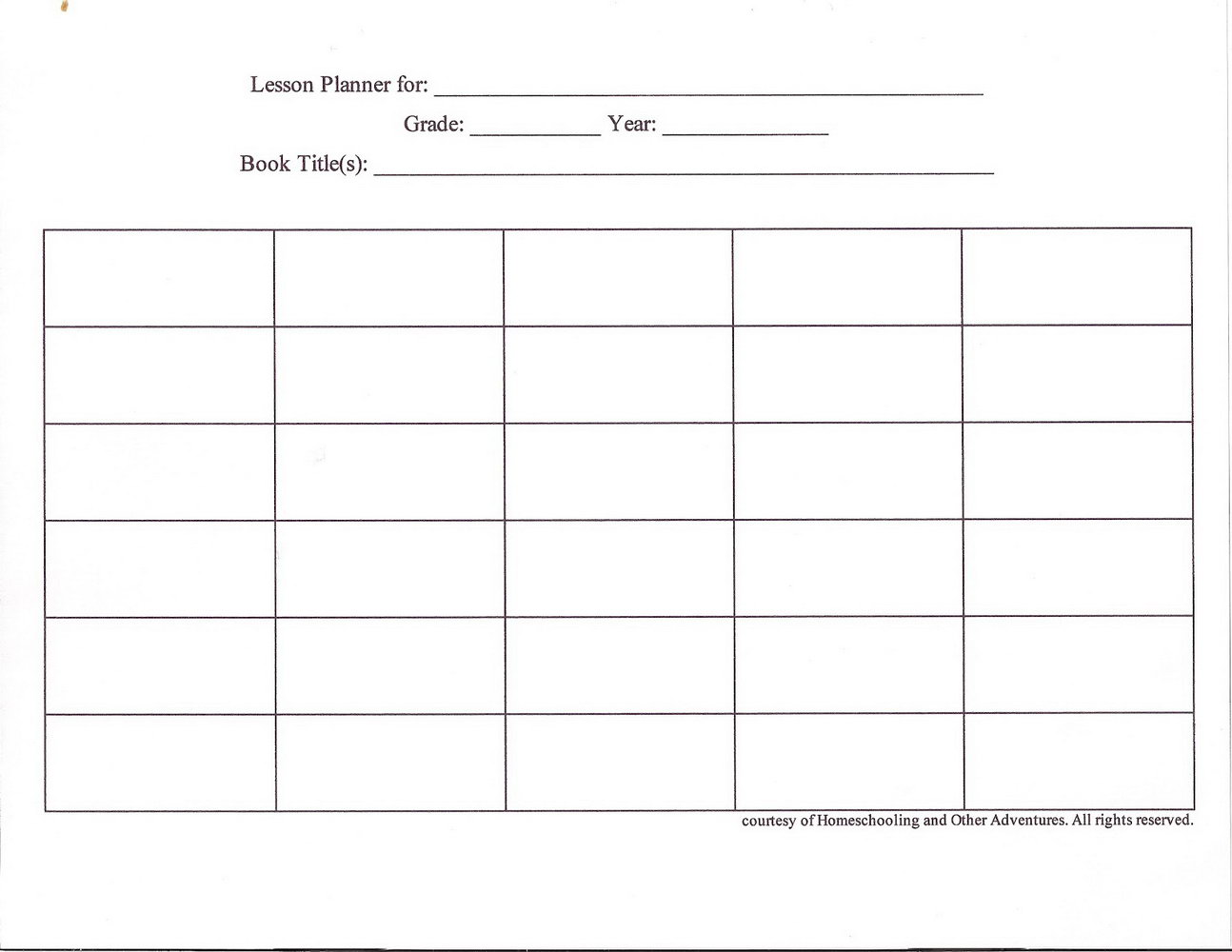 Blank Infant Lesson Plan Template