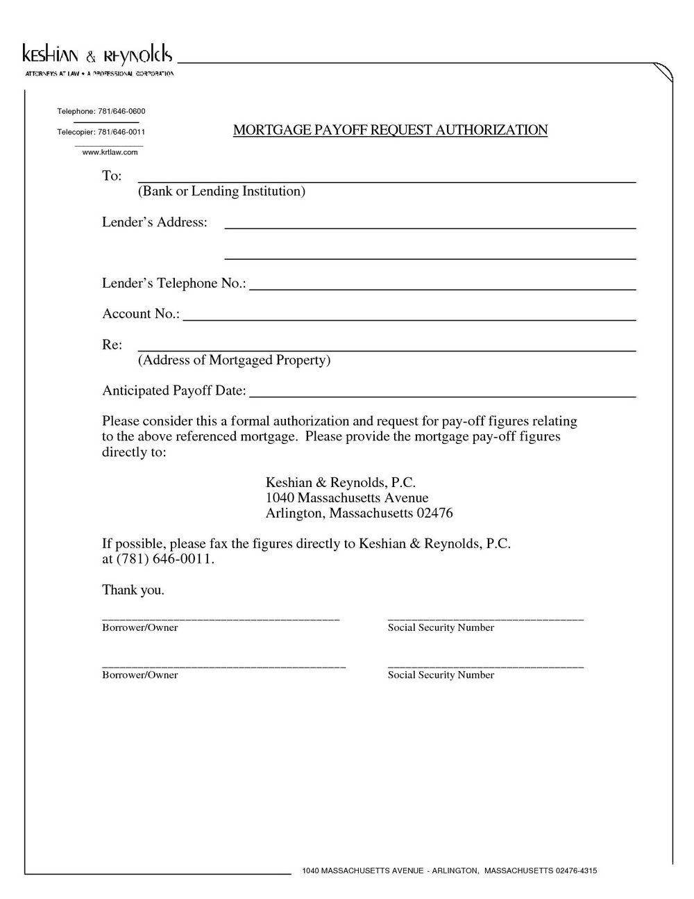 Blank Mortgage Statement Template