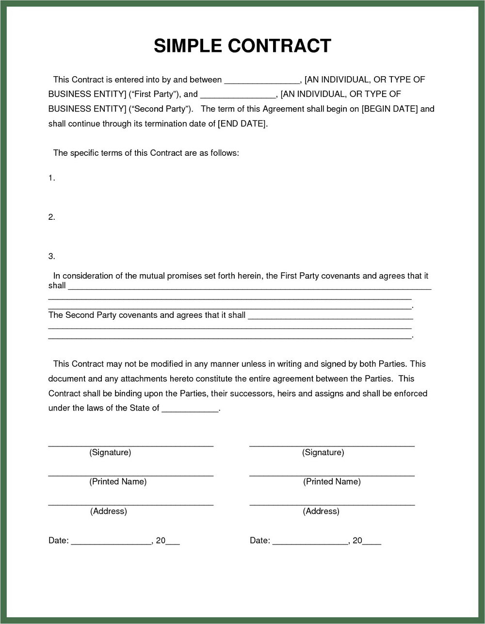 Blank Roofing Contract Template