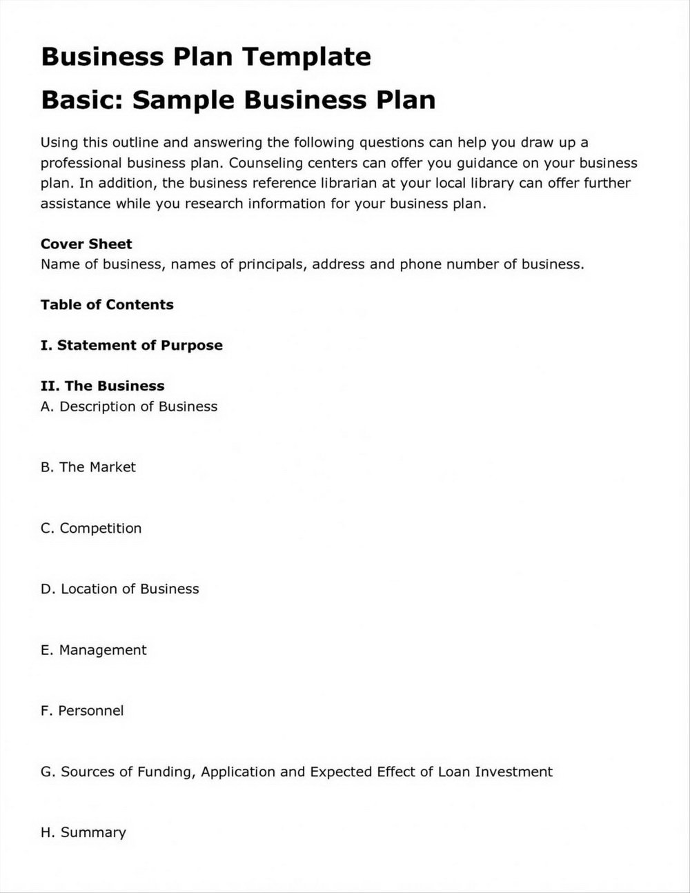 Business Plan Template Sba.gov