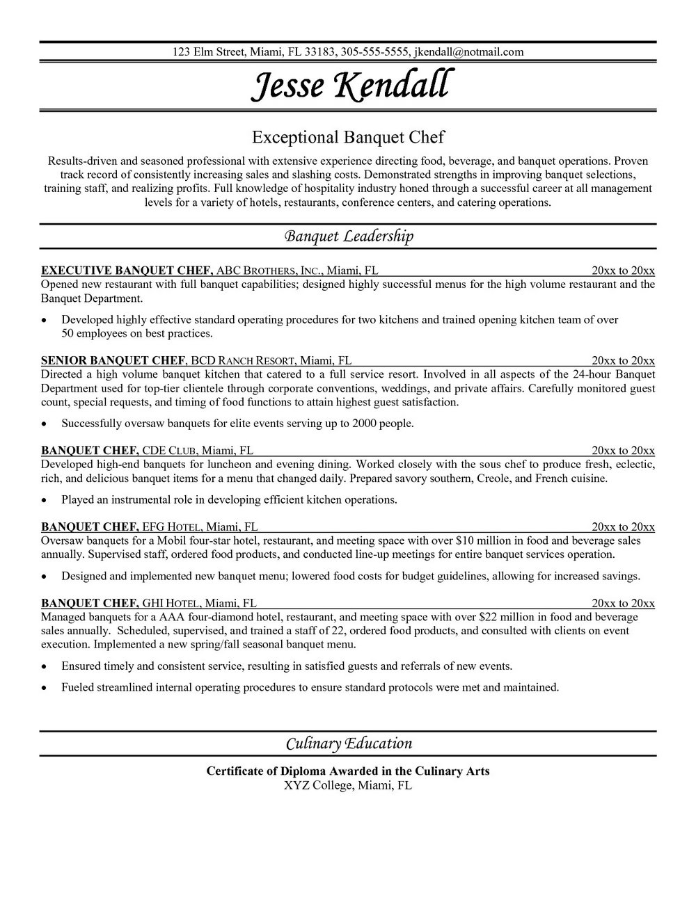 Chef Resume Template Word