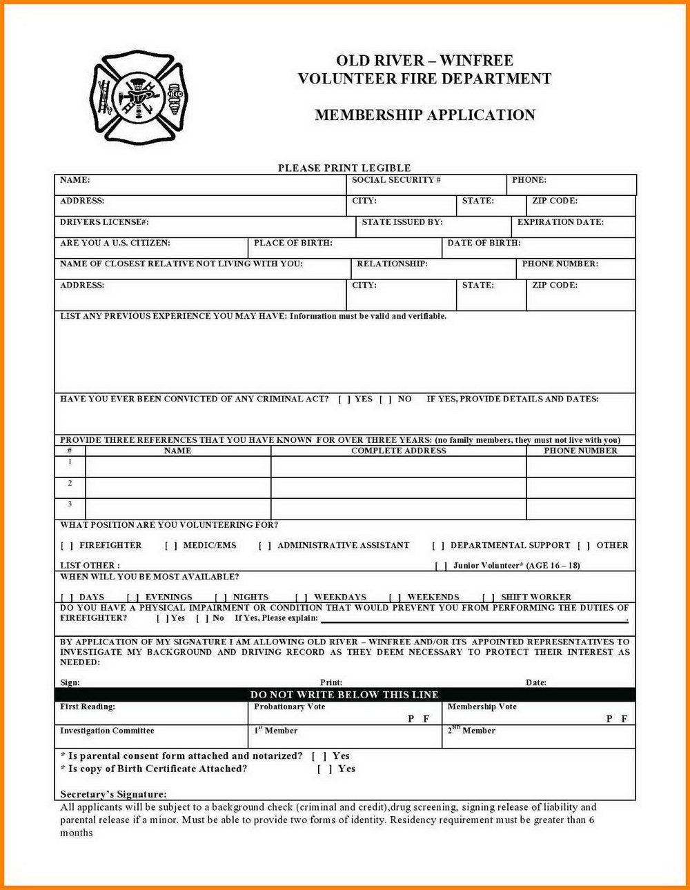 Church Camp Registration Form Template