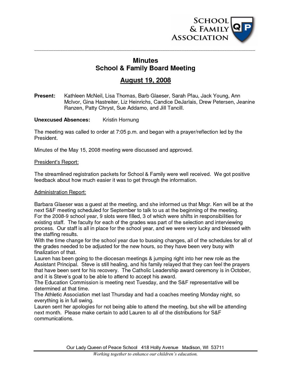 Church Meeting Minutes Template Doc
