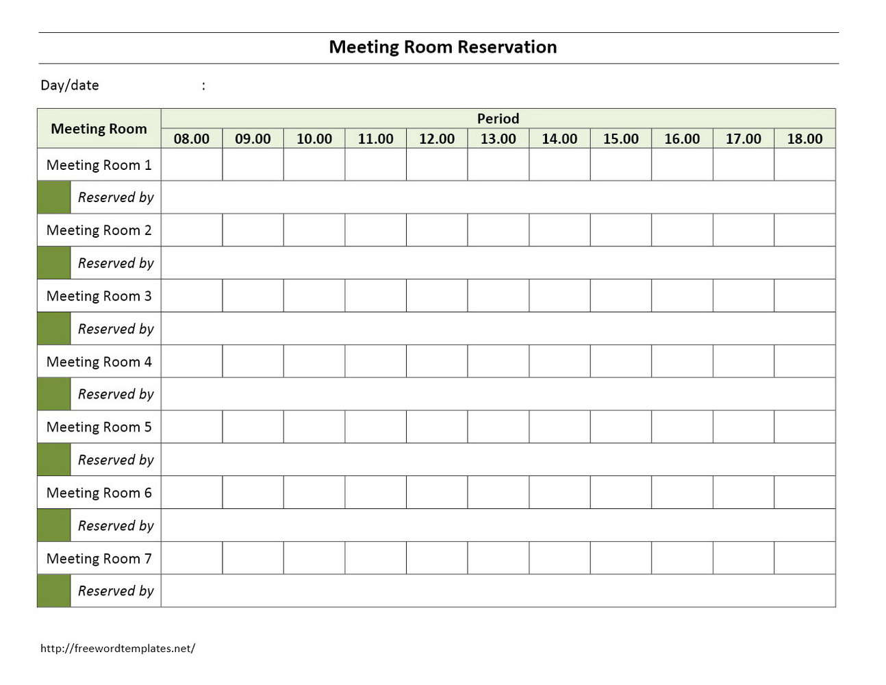 Conference Room Scheduling Calendar Template