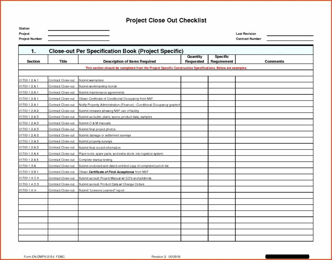 Construction Punch List Template