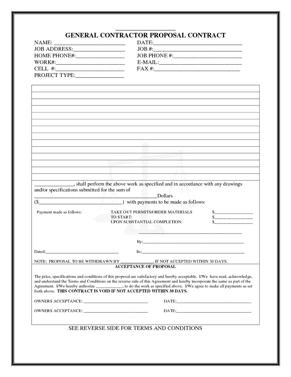 Contractor Bid Form Template