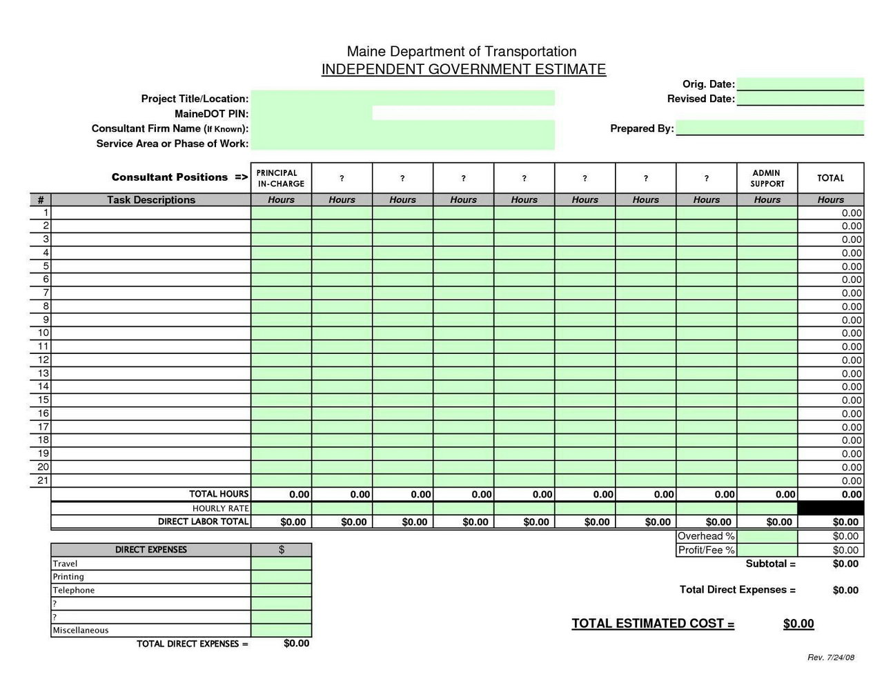 Cost Estimate Template Excel