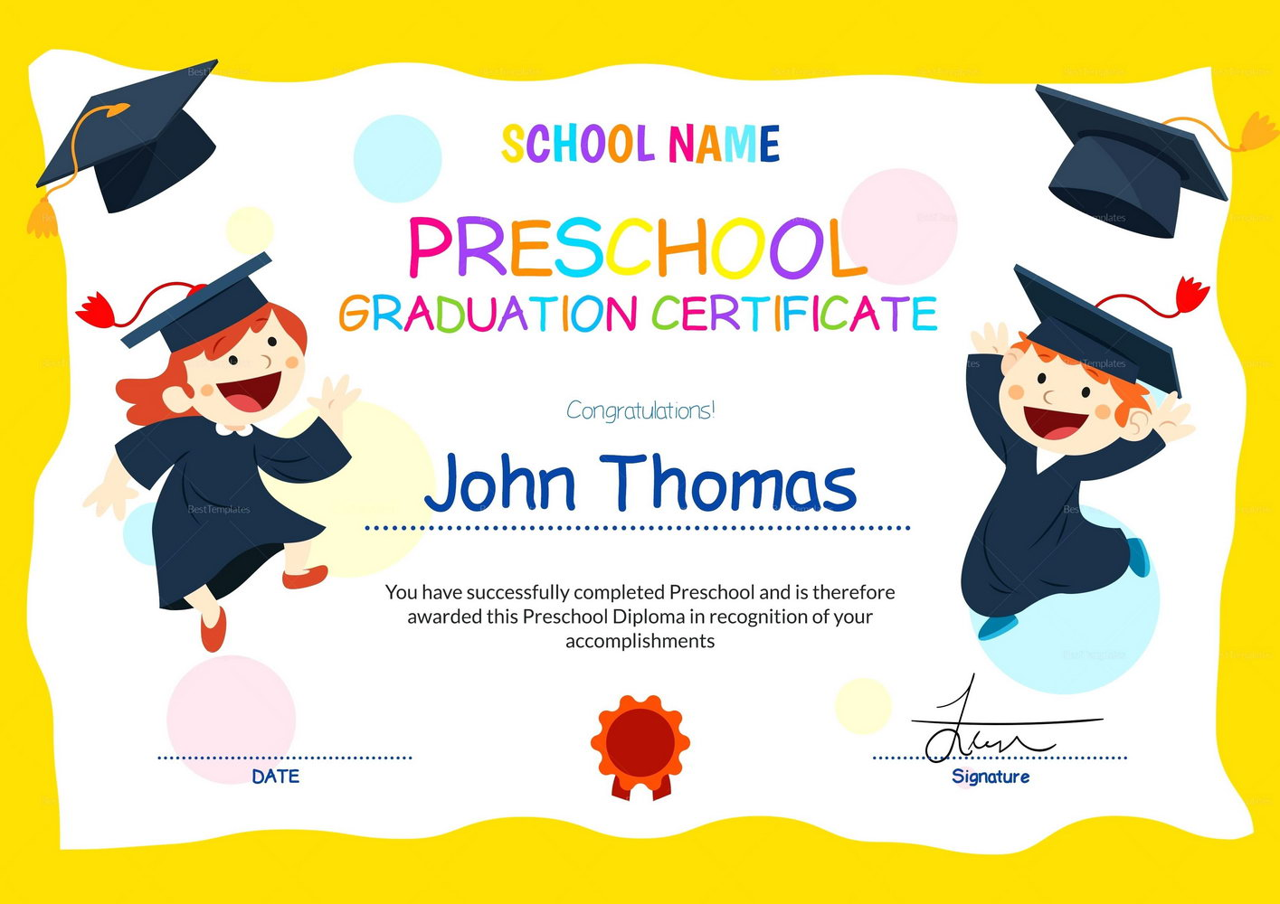 Daycare Graduation Certificate Template