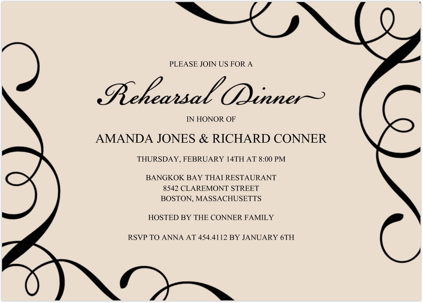 Dinner Party Invitation Card Template