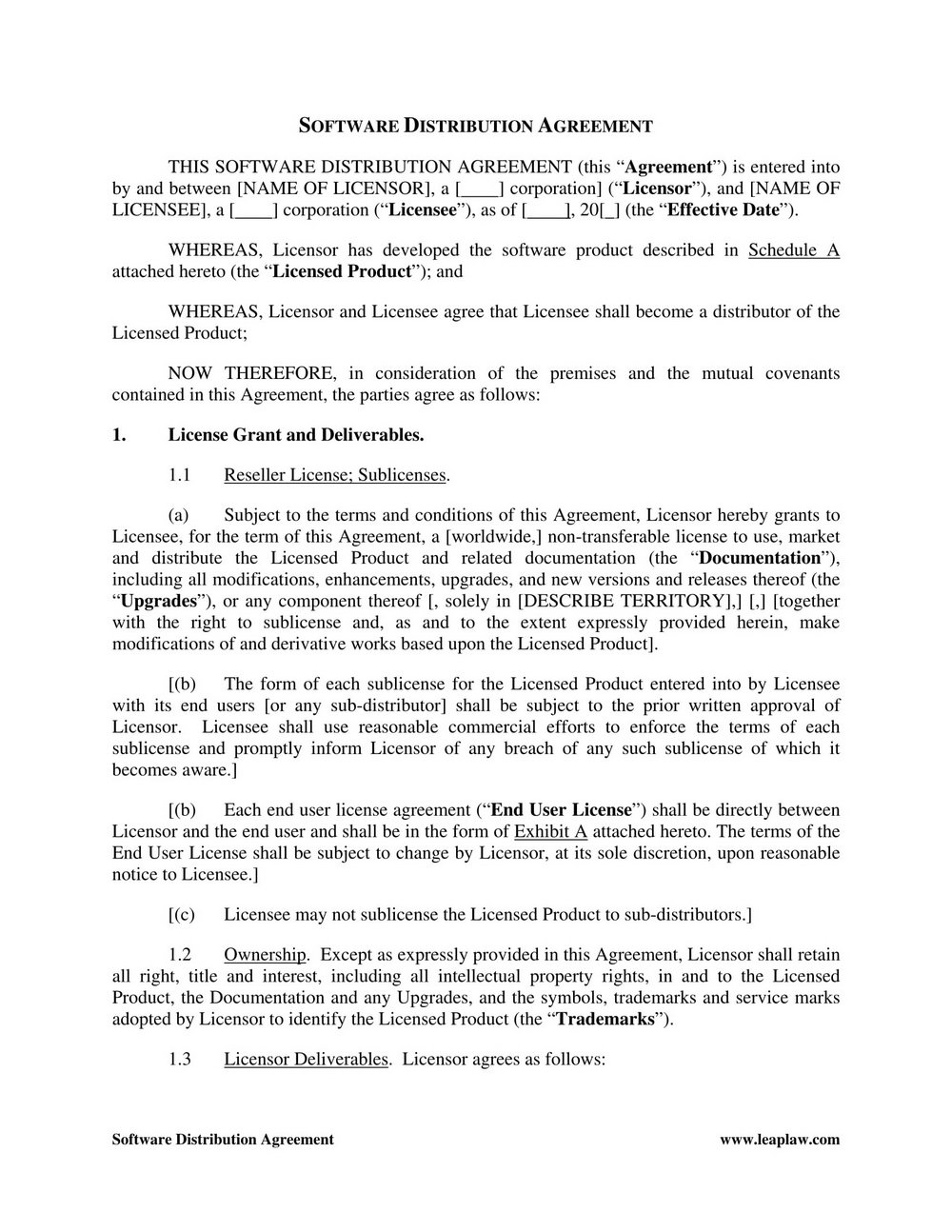 Distributor Agreement Template Uk