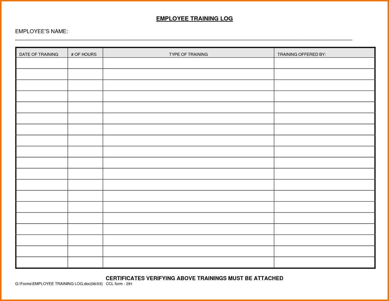 Employee Training Manual Template Word