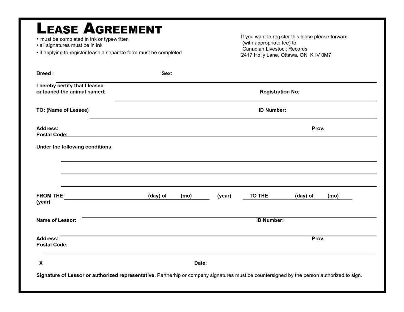 Equipment Lease Agreement Template Word
