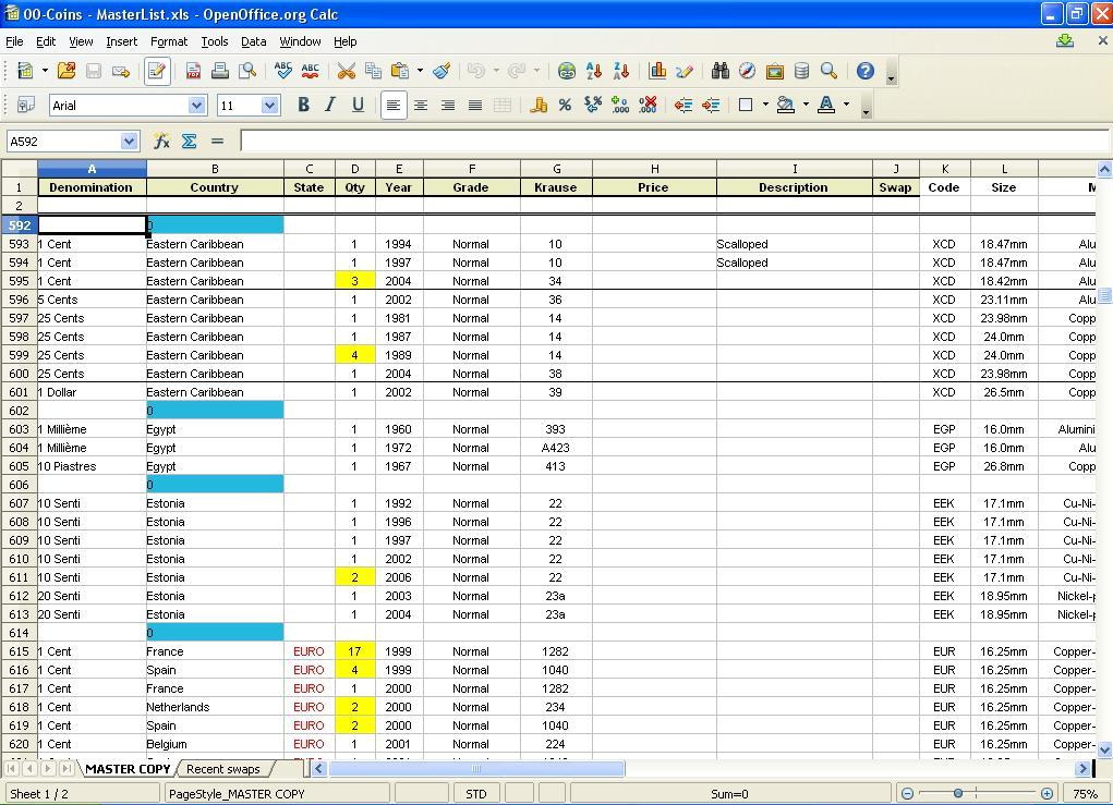 Excel Spreadsheet Coin Inventory Templates