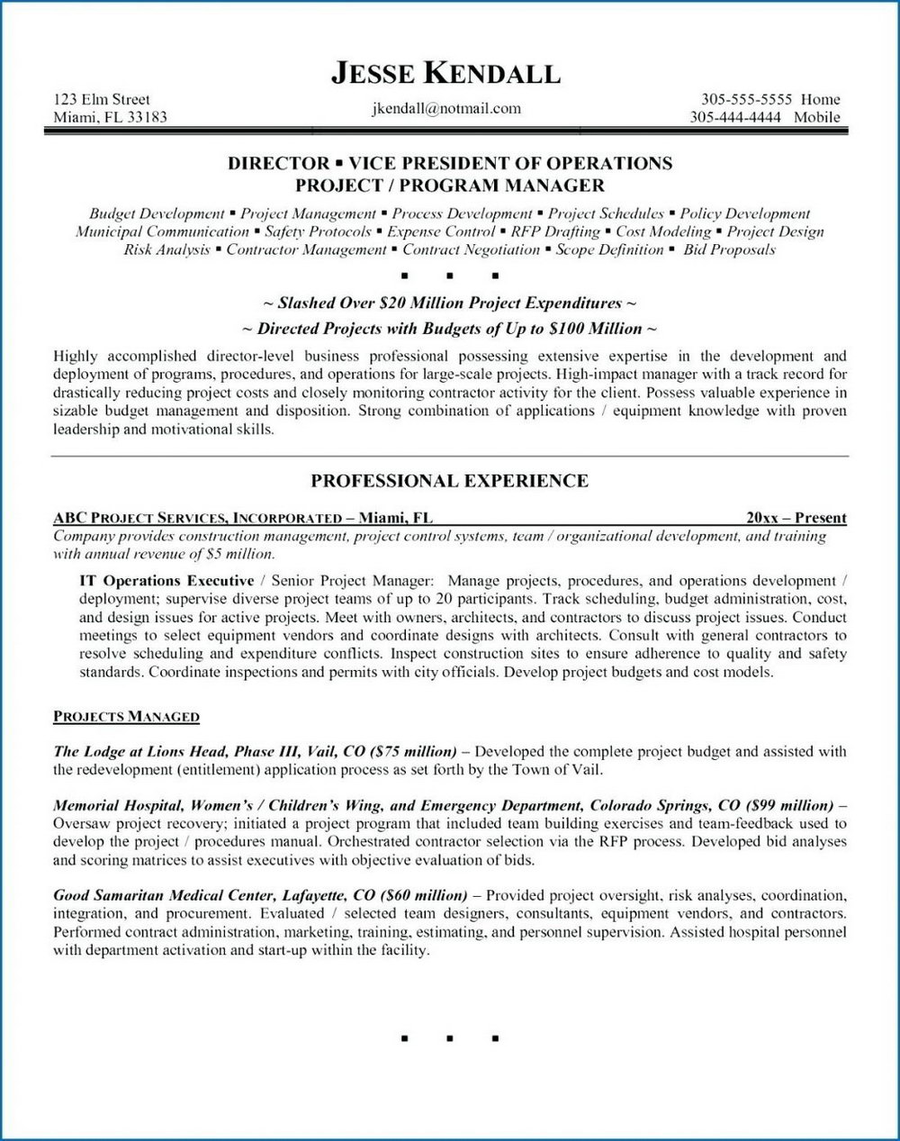 Executive Resume Template Word Doc