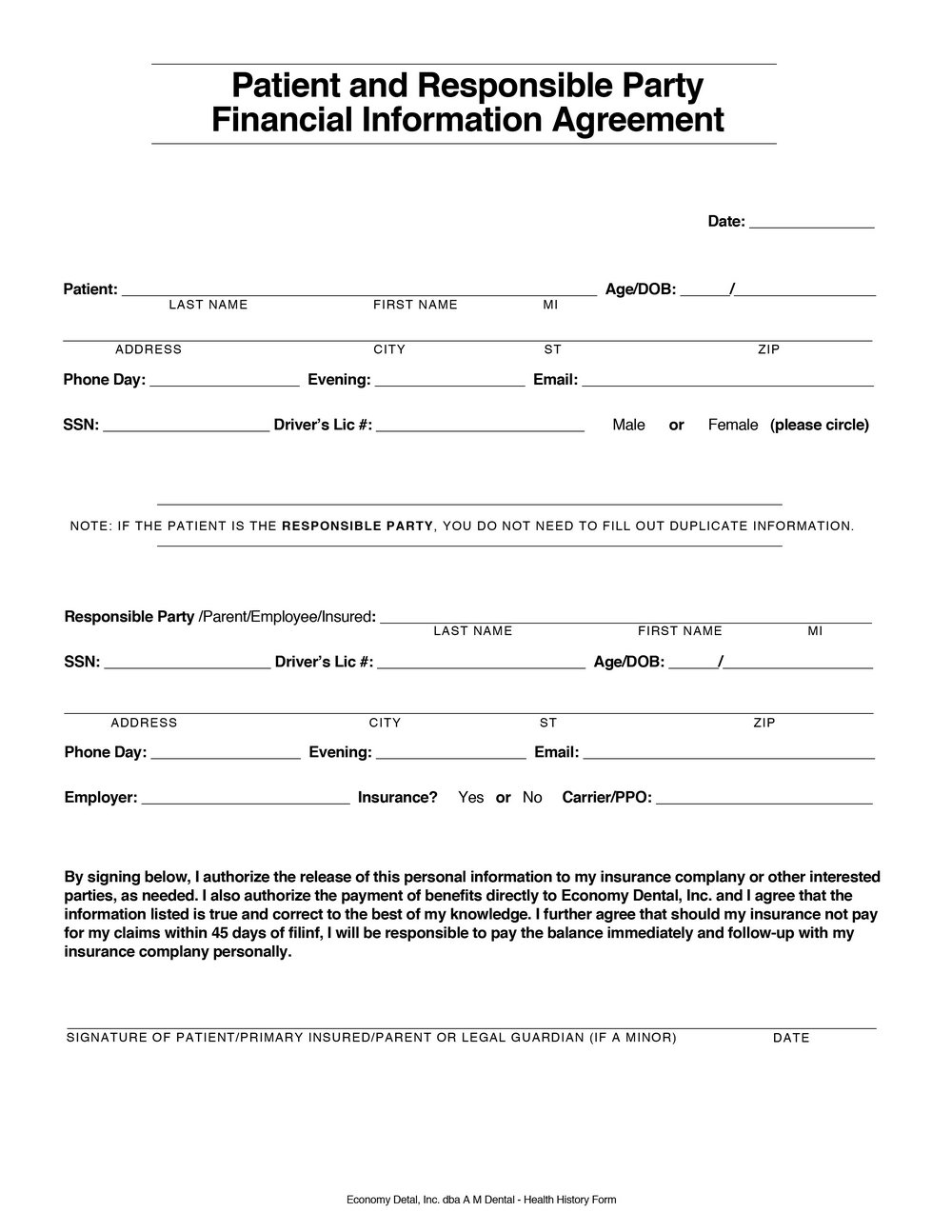 Financial Agreement Template Free