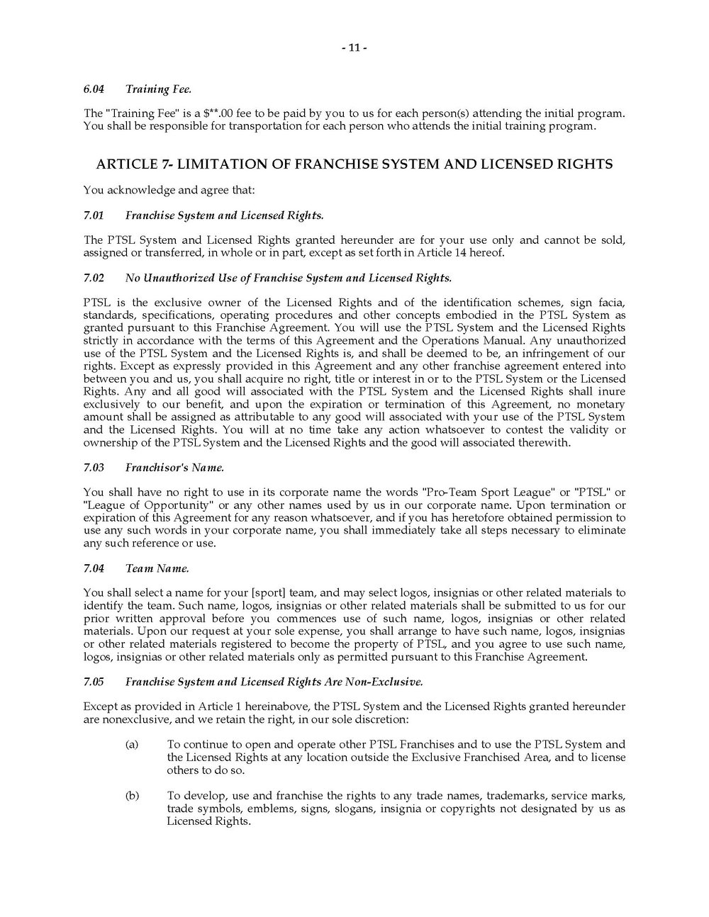 Franchise Agreement Template Doc