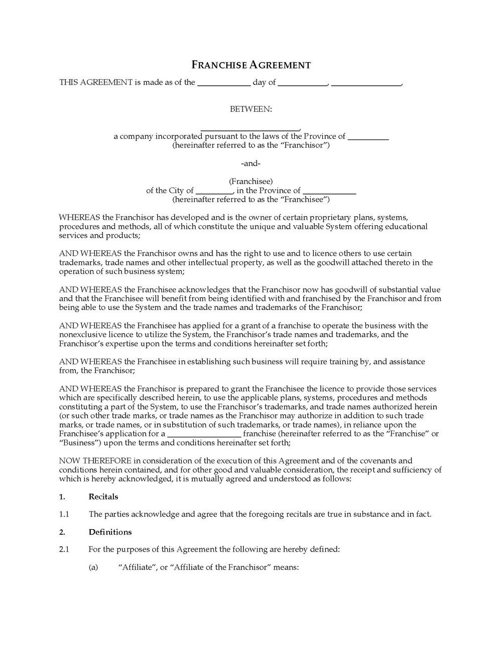 Franchise Agreement Template Uk