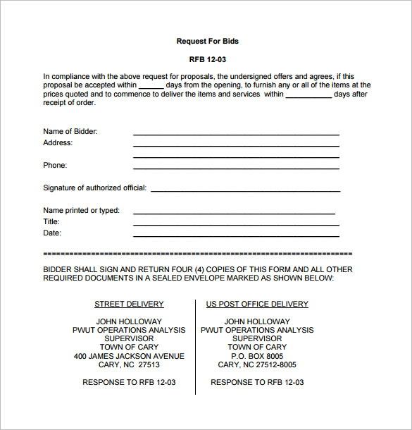 Free Bid Proposal Template Pdf