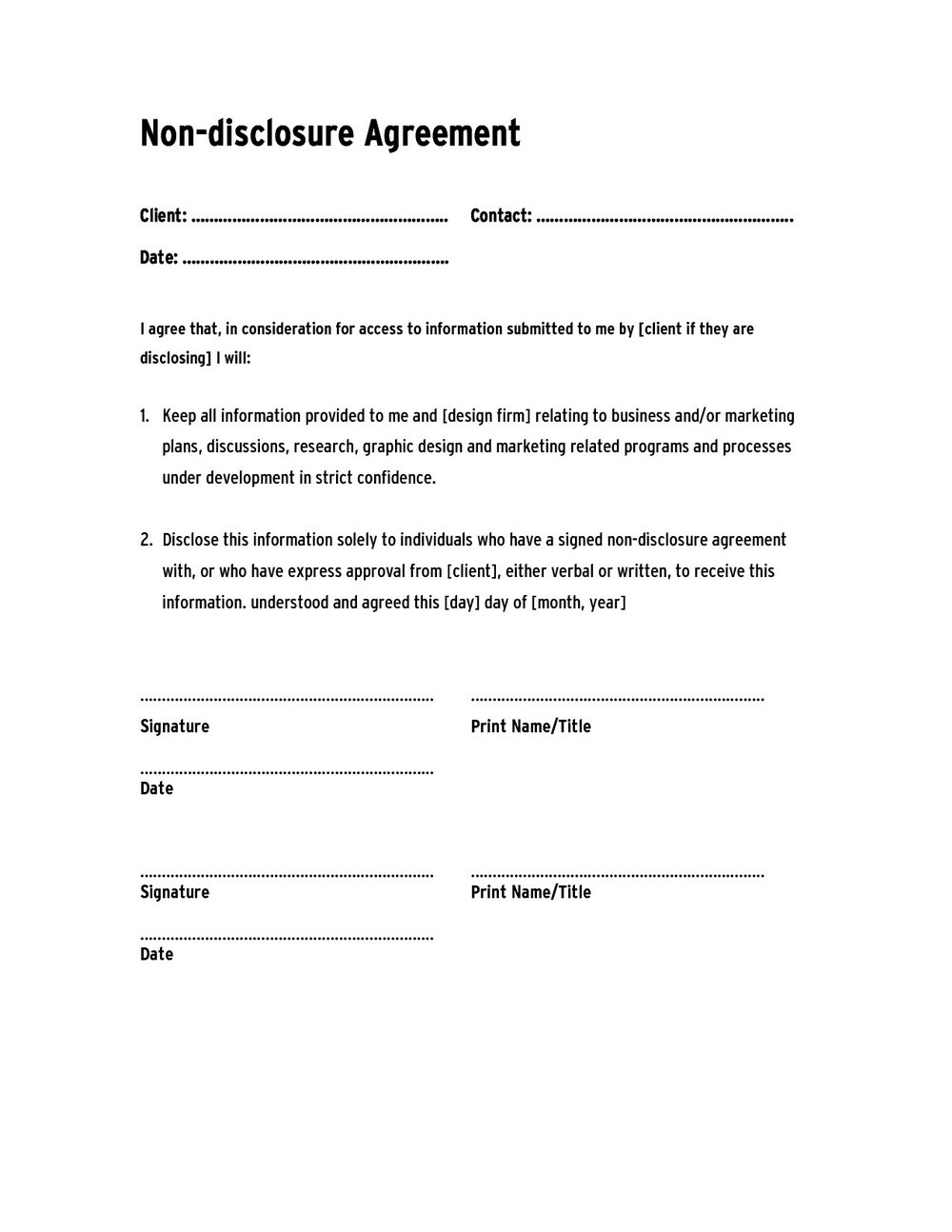 Free Confidentiality Agreement Template Word