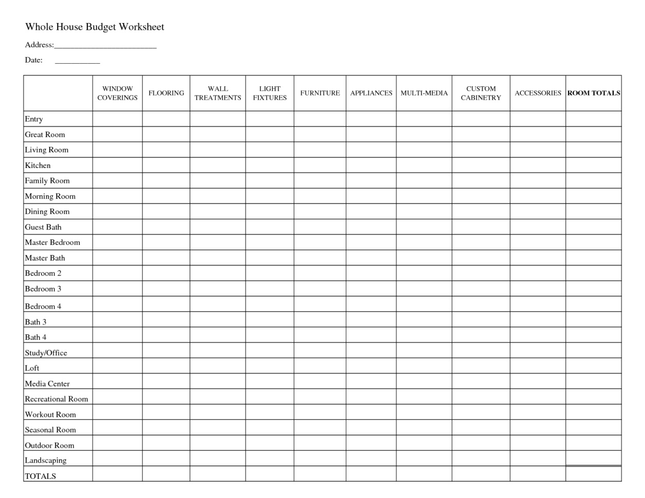 Free Household Budget Template Excel