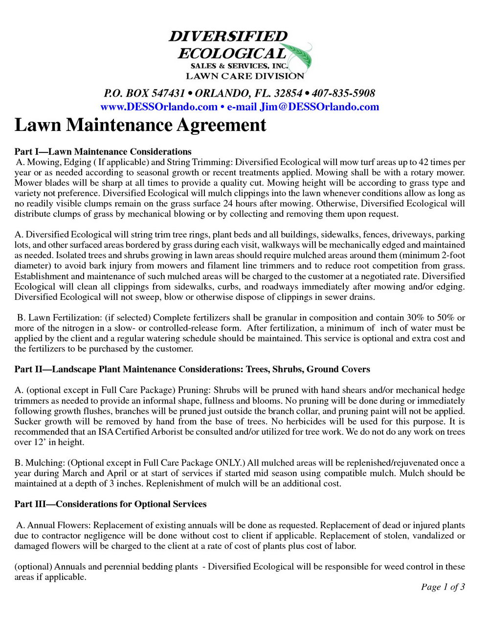Free Lawn Care Contract Templates