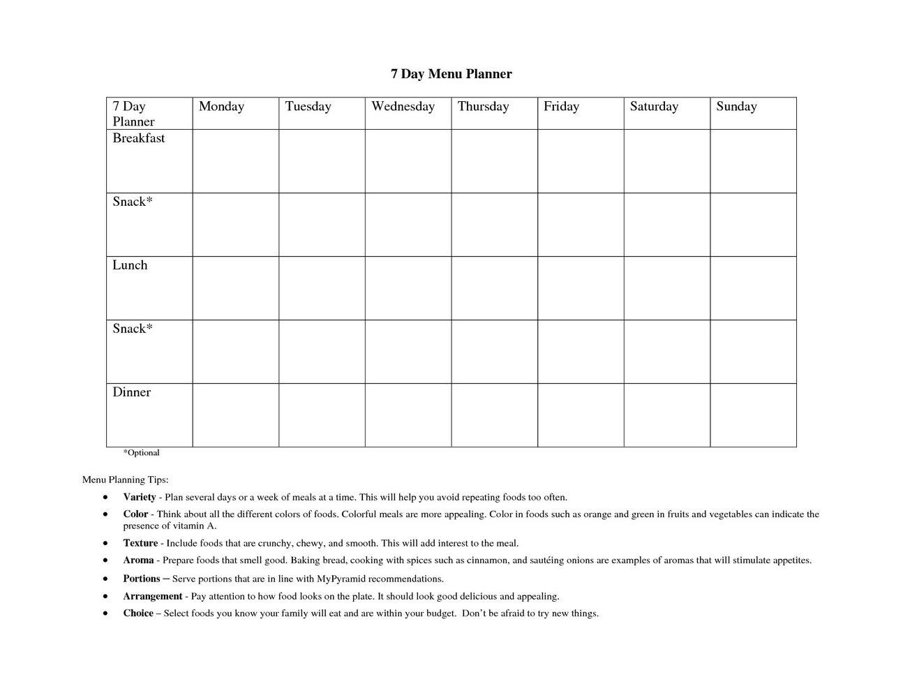 Free Printable Daycare Menu Template