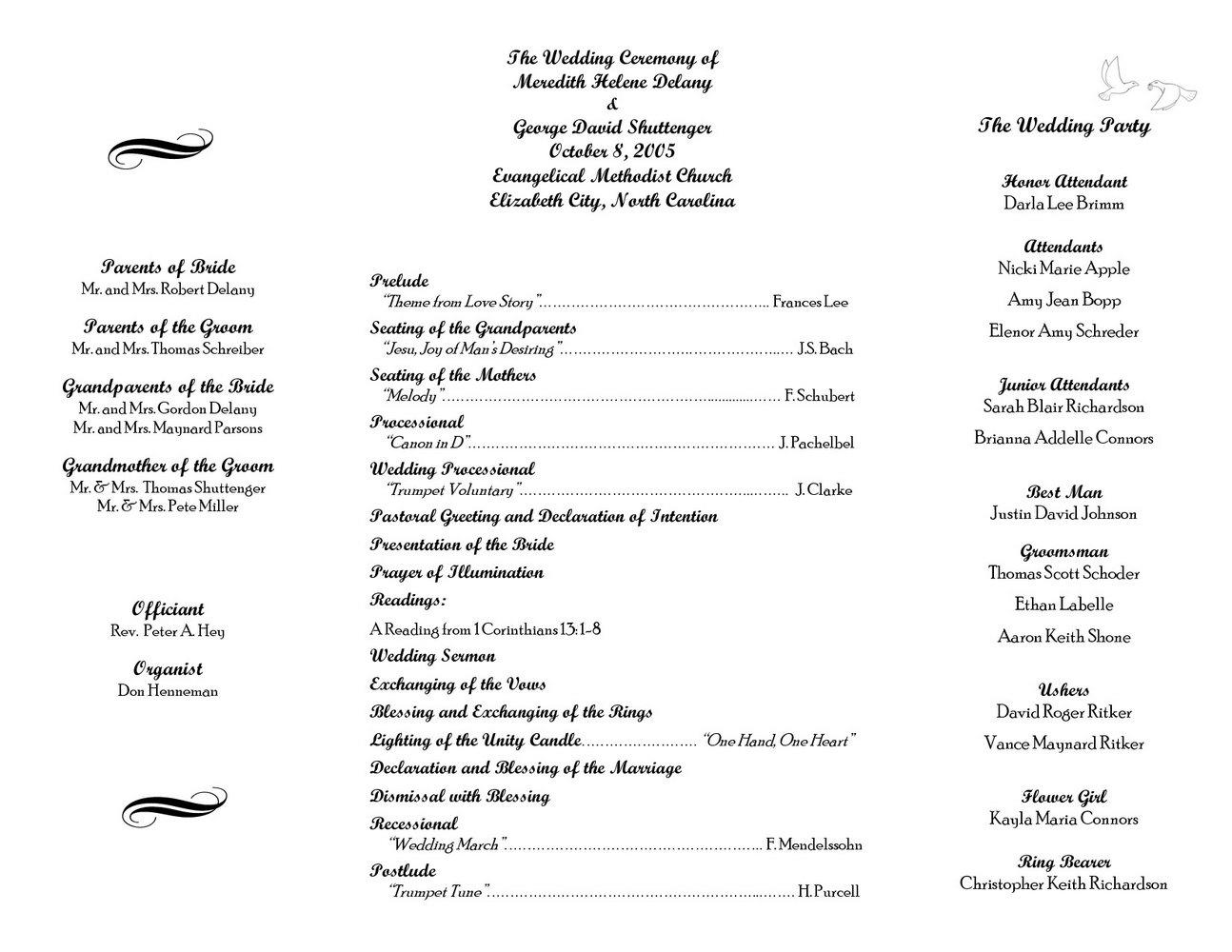 Free Wedding Bulletin Template