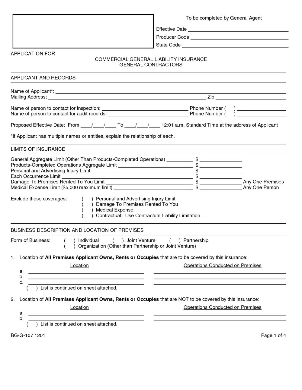 General Liability Waiver Form Template