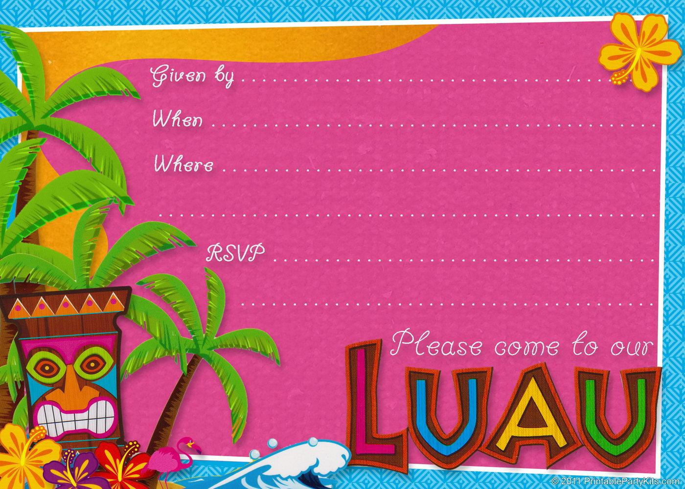 Hawaiian Birthday Party Invitations Templates Free
