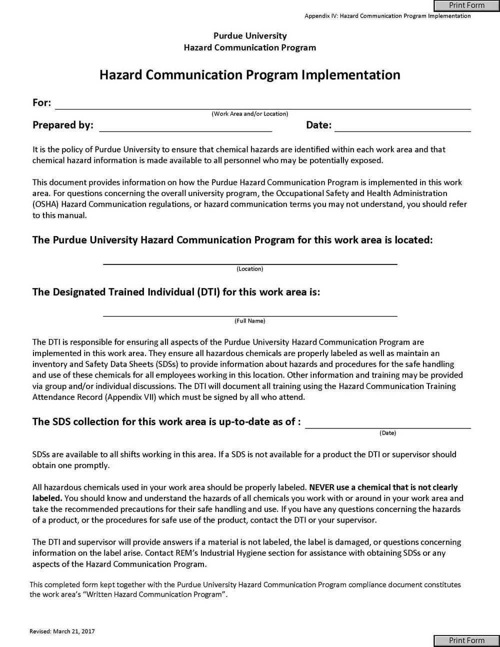Hazard Communication Program Template