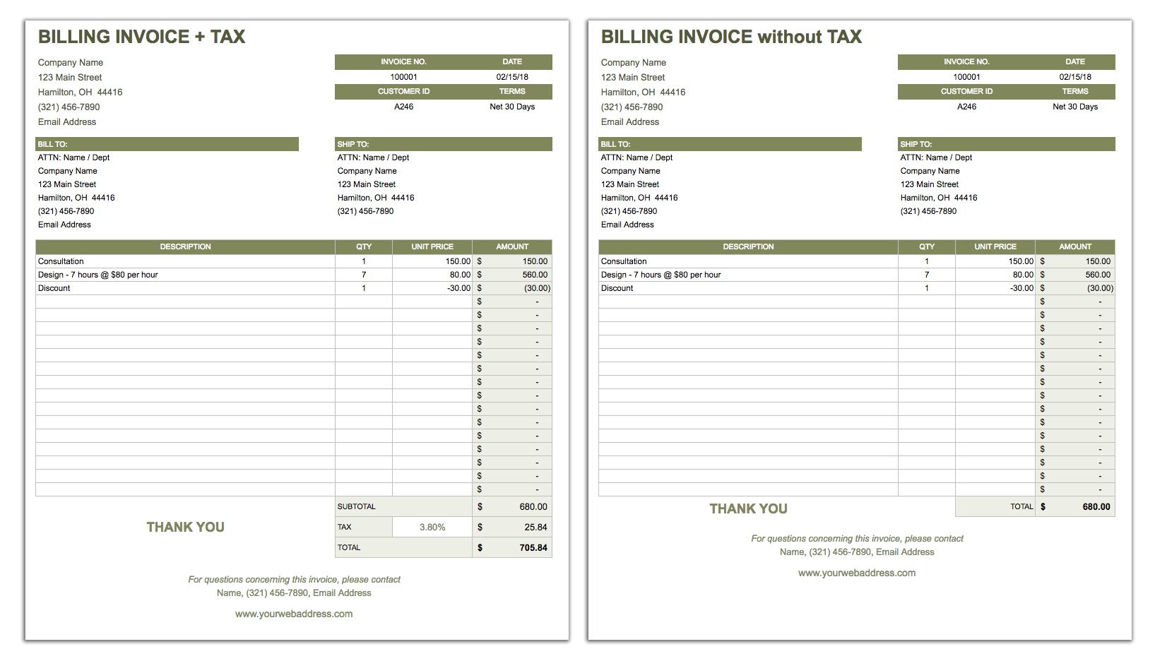 Invoice Template Google Sheets