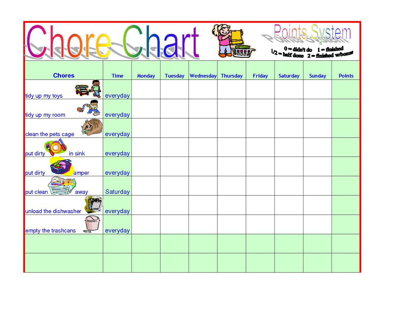 Kids Chore Chart Template Free