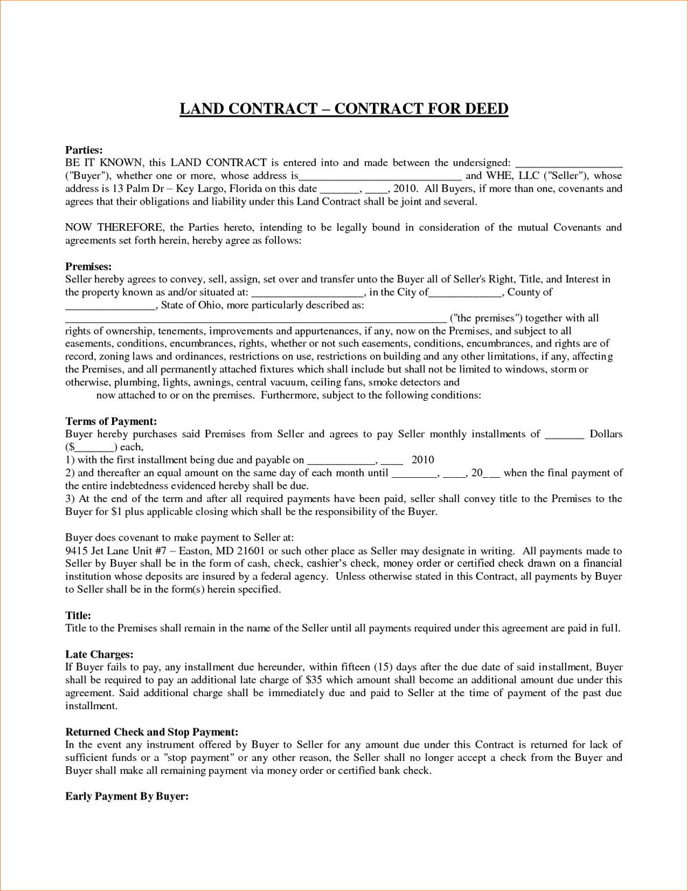 Land Clearing Contract Template
