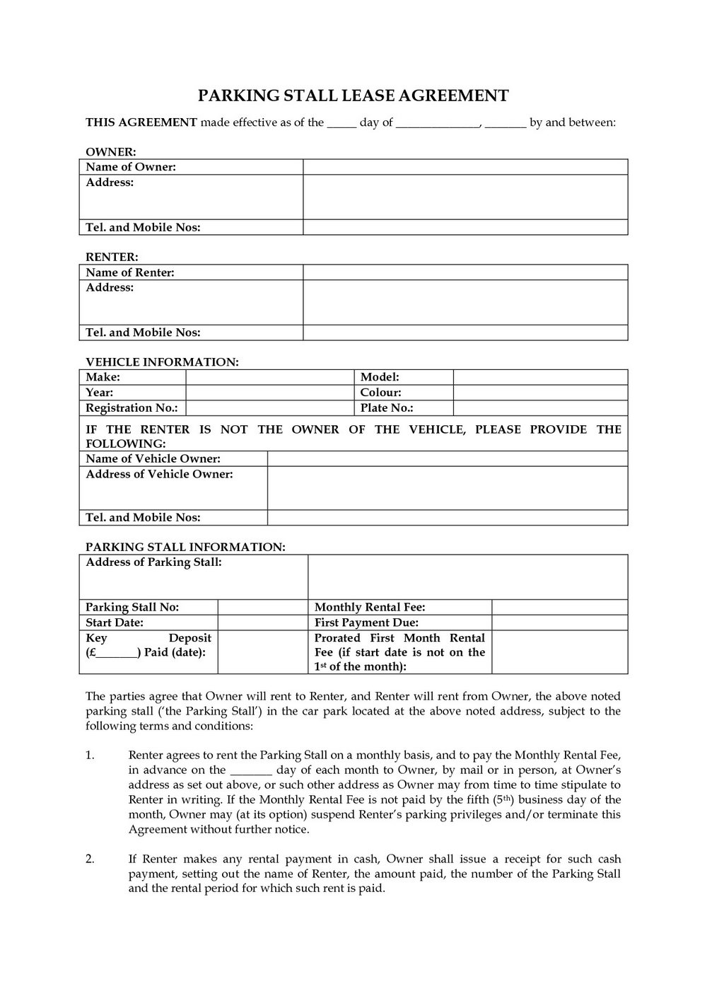 Lease Proposal Template Word
