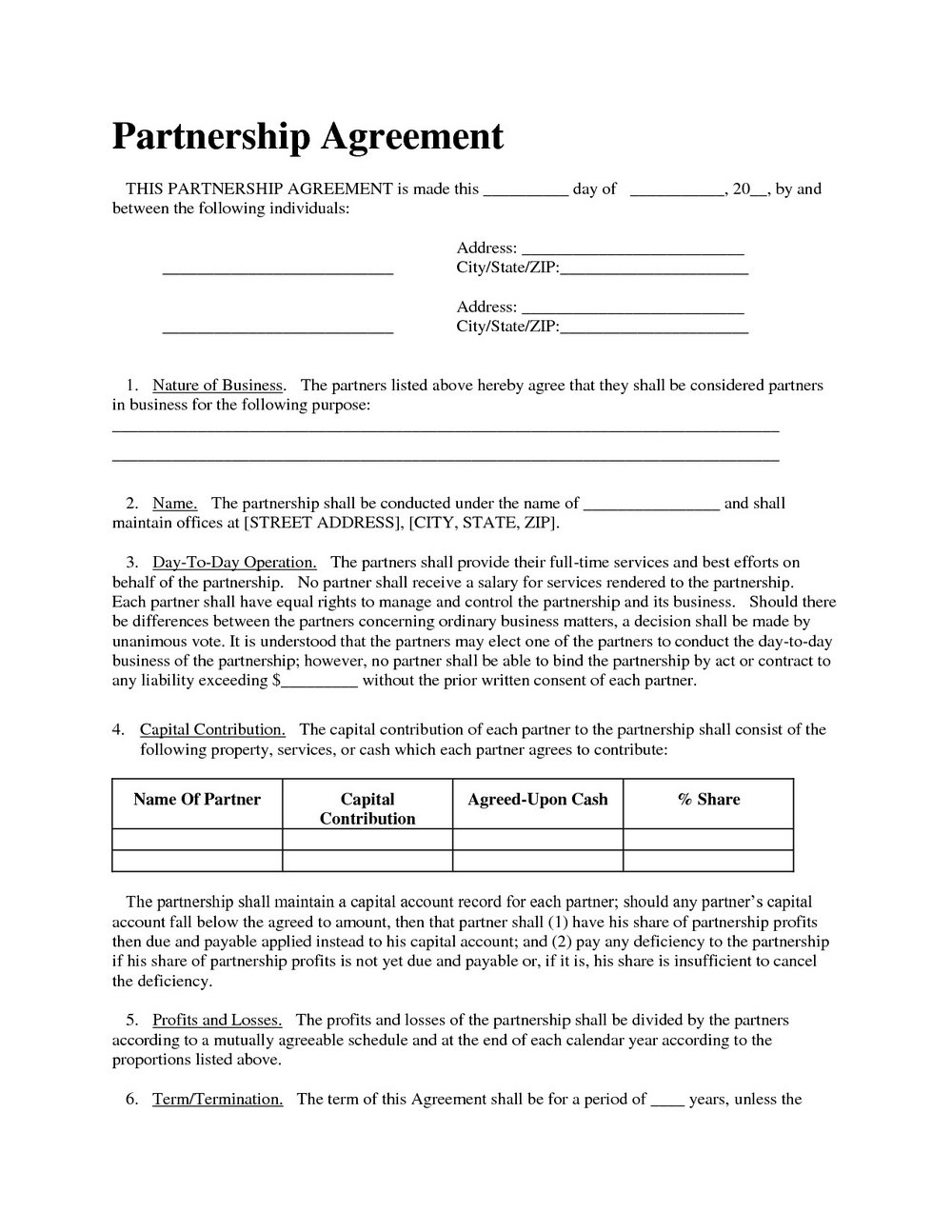 Llc Partnership Agreement Template