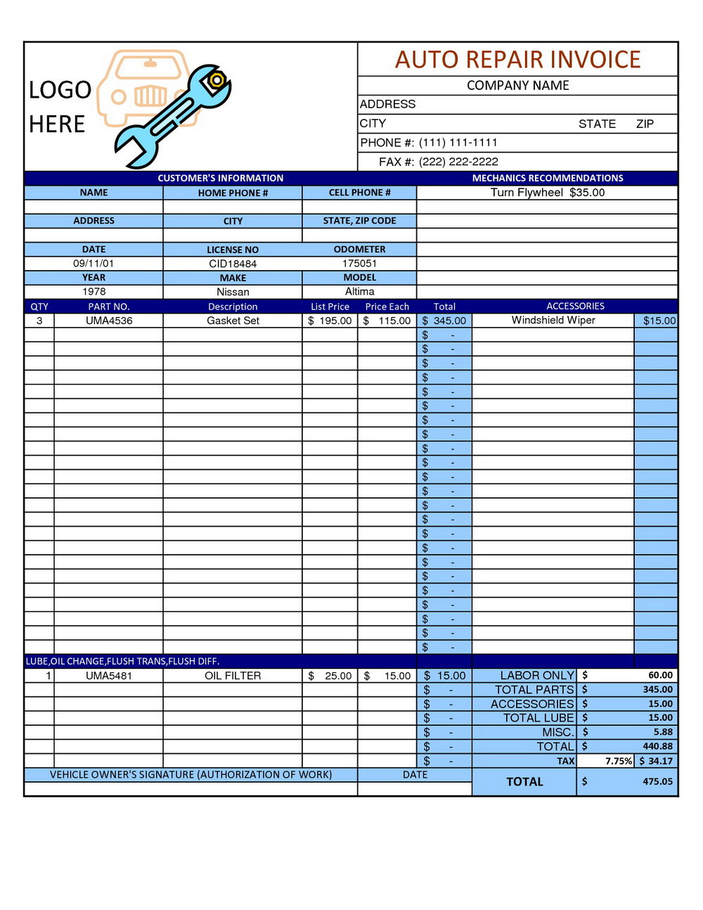 Mechanics Invoice Template